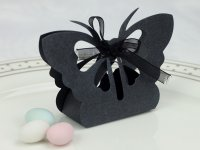 Black Butterfly Favor Box with ribbon