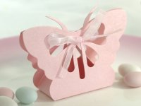 Pink Butterfly Favor Box with ribbon